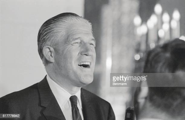 Governor George Romney of Michigan who has all but announced his candidacy for the 1968 GOP presidential nomination is all smiles as he talks to the...