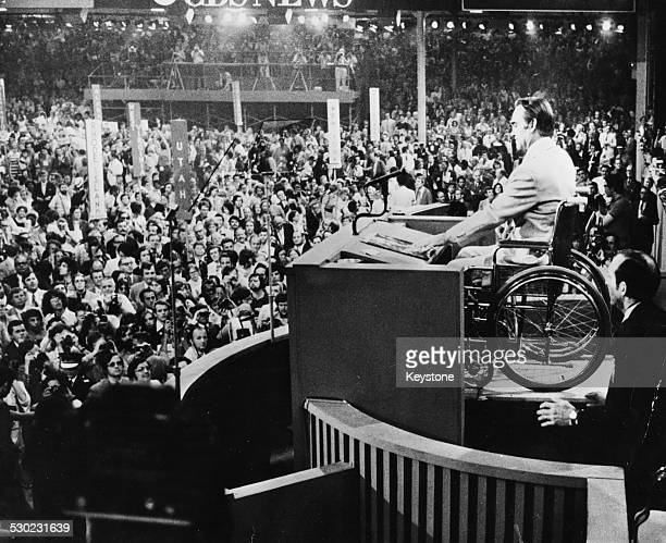 Governor George Wallace of Alabama speaking on stage to a huge crowd at the Democratic National Convention Miami Florida July 17th 1972