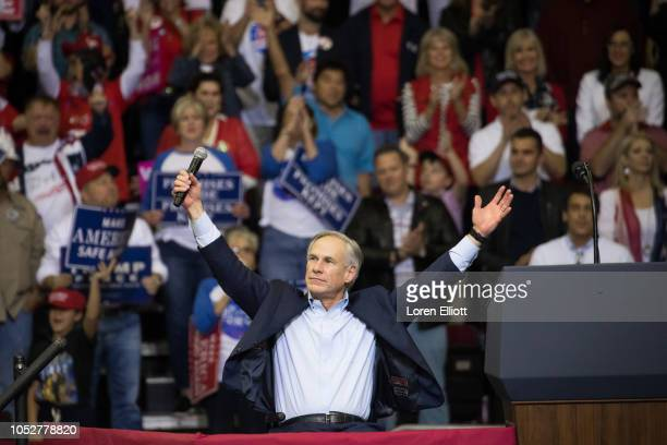 Governor Greg Abbott of Texas addresses the crowd before President Donald Trump took the stage for a rally in support of Sen Ted Cruz on October 22...