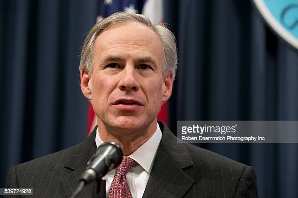 Governor Greg Abbott speaks to the Texas press as Republicans celebrate a federal judge's decision to halt President Obama's executive action on...