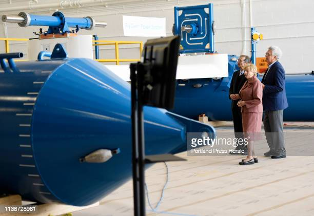 Governor Janet Mills gets a tour of ORPC's commercial RivGen® Power System at Brunswick Landing Wednesday, April 17, 2019. Giving the tour are John...