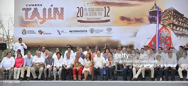 Governor Javier Duarte de Ochoa and Wife during Opening Ceremony the thirteenth edition of the Cumbre Tajin Festival in the Park Takilhsukut on March...