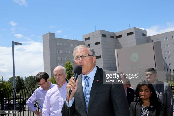 Governor Jay Inslee joined by many other government officials speaks at a press conference outside a Federal Detention Center holding migrant women...