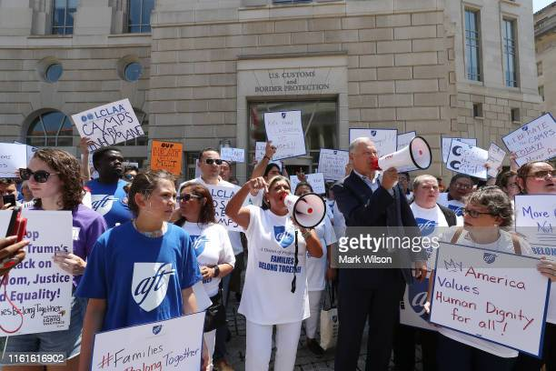 Governor Jay Inslee joins immigration activists to protest President Trump's immigration positions family separation policy and immigration raids...