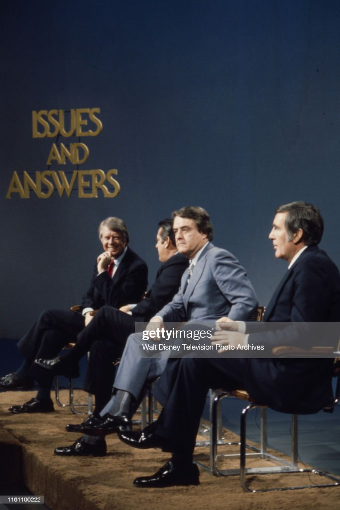 Jimmy Carter, Fred R Harris, Birch Bayh, Mo Udall Appearing On 'Issues And Answers' : News Photo