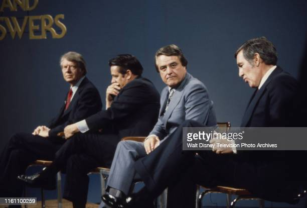 Governor Jimmy Carter Fred R Harris Indiana Senator Birch Bayh US Representative Mo Udall appearing on the ABC news program 'Issues and Answers'