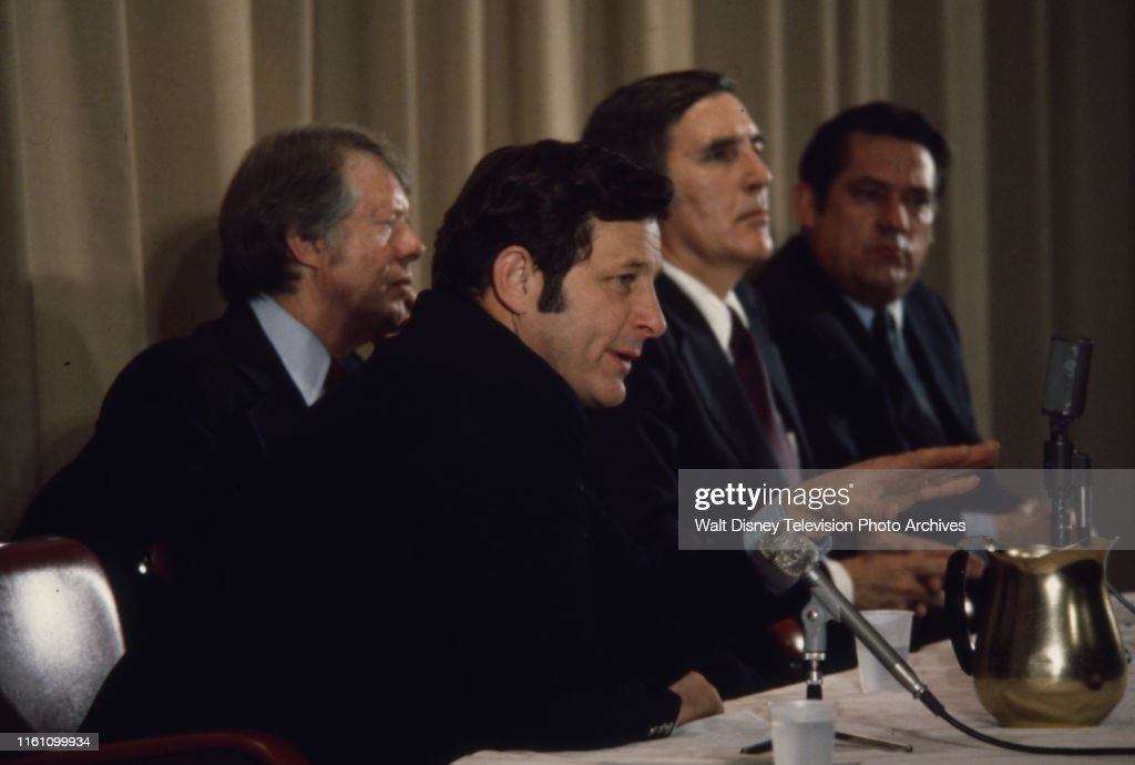 Jimmy Carter, Birch Bayh, Mo Udall, Fred R Harris During 1976 New Hampshire Presidential Primary : News Photo