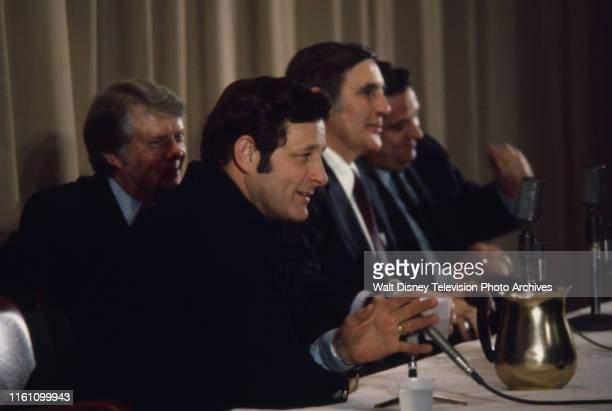 Governor Jimmy Carter Indiana Senator Birch Bayh US Representative Mo Udall Fred R Harris at campaign event ABC News coverage of the 1976 New...