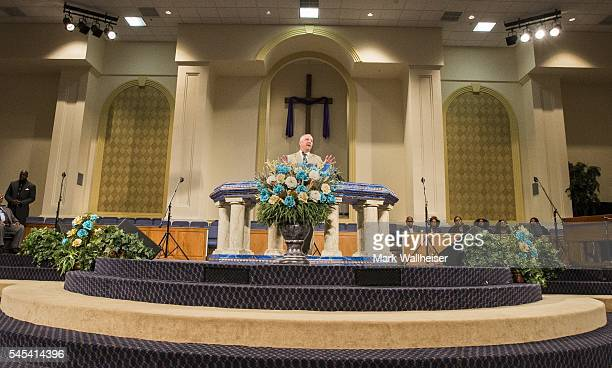 Governor John Bel Edwards of Louisiana speaks during a prayer vigil for Alton Sterling at the Living Faith Christian Center July 7 2016 in Baton...