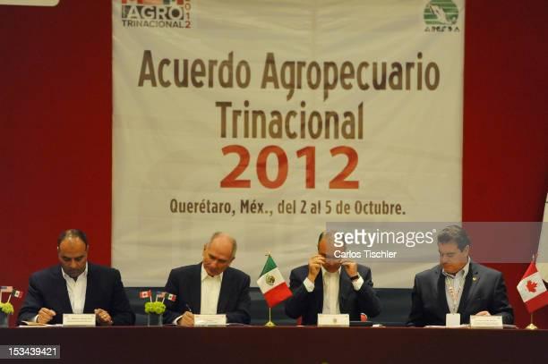 Governor Jose Calzada Rovirosa and the Secretary of SAGARPA Francisco Mayorga Castaeda during the inauguration of the 2012 TriNational Agricultural...