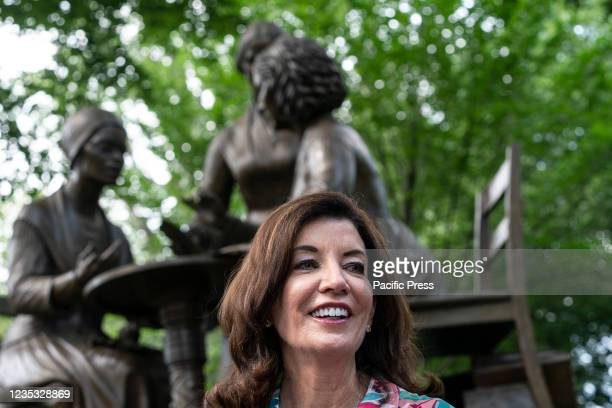 Governor Kathy Hochul attends gathering of elected officials and advocates in response to Texas abortion ban at Central Park at Women's Rights...