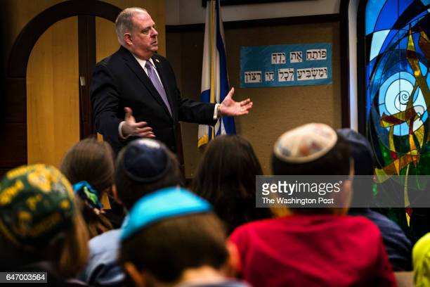 Governor Larry Hogan speaks to the 5th grade class during a visit to Charles E Smith Jewish Day School in Rockville Maryland Friday December 16 2016