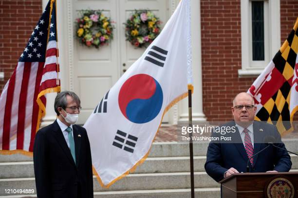 Governor Larry Hogan was joined by South Korea's Director of Public Diplomacy left to announce that the state received 500000 Covid19 tests from...