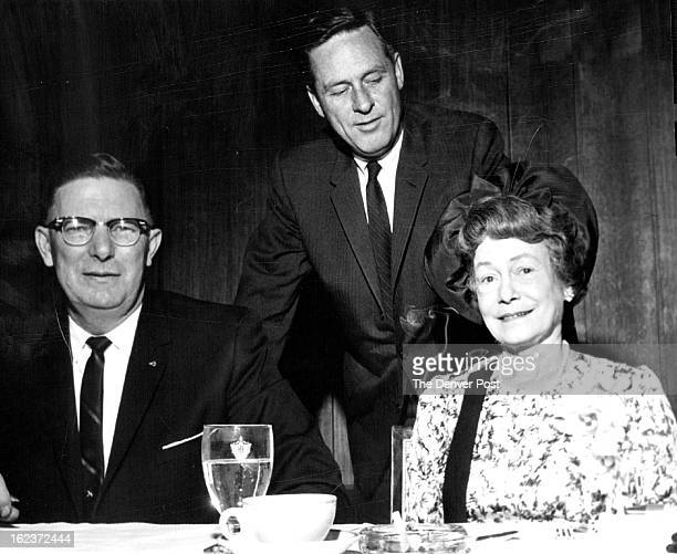 MAR 8 1963 Governor Love Greets Guests Actress Thelma Ritter and South Dakota Gov Archie Gubbrud left in Denver for the premiere of How the West Was...