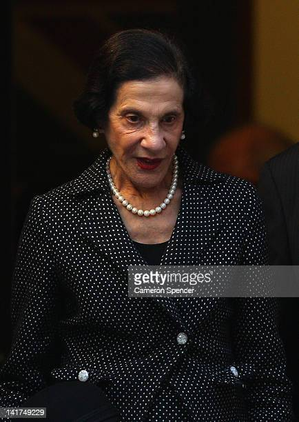 Governor Marie Bashir leaves the memorial service for Margaret Whitlam at St James Anglican Church on March 23 2012 in Sydney Australia Mrs Whitlam...