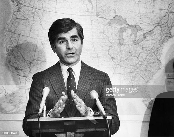 Governor Michael Dukakis of Mass delivers an official farewell to his governorship in Boston on Jan 12 1987