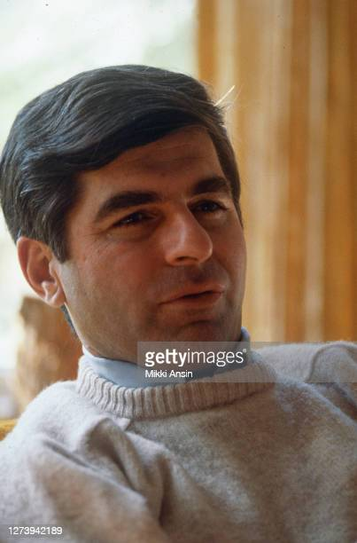 Governor Michael Dukakis relaxes at his home in Brookline, before he announces his Presidential candidacy in Brookline, MA in April, 1987.
