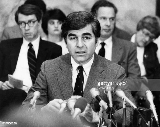 Governor Michael Dukakis speaks at a hearing on the new sentencing bill at the State House in Boston on Feb 27 1985