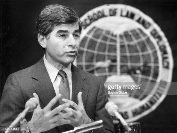 Governor Michael Dukakus addresses students at Tufts University's Fletcher School of Diplomacy in Medford Mass on April 9 1987
