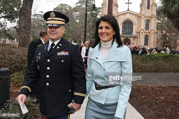 Governor Nikki Haley joined by her husband Michael head to the State House to be sworn in after the Inaugural Prayer service held at Trinity...
