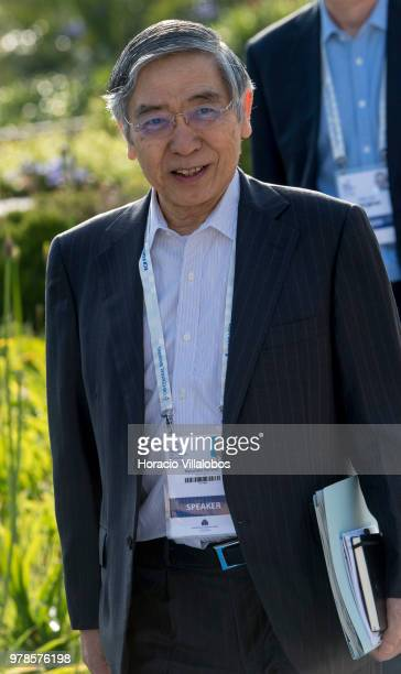 Governor of Bank of Japan Haruhiko Kuroda arrives to participate in the first discussion session of the ECB Forum on Central Banking, on June 19,...
