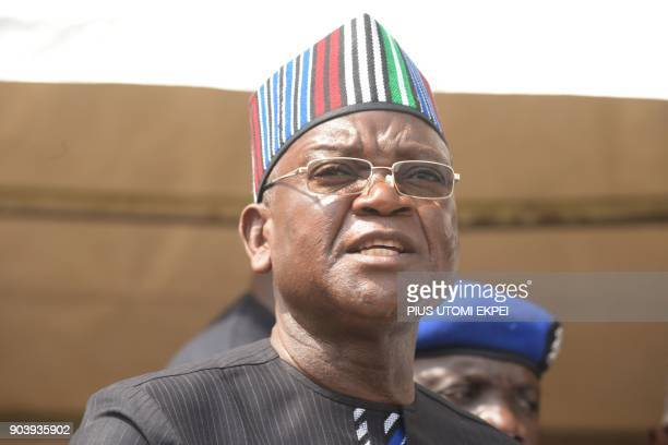 Governor of Benue State Samuel Ortom speaks during a funeral service for scores who died following clashes between Fulani herdsmen and natives of...