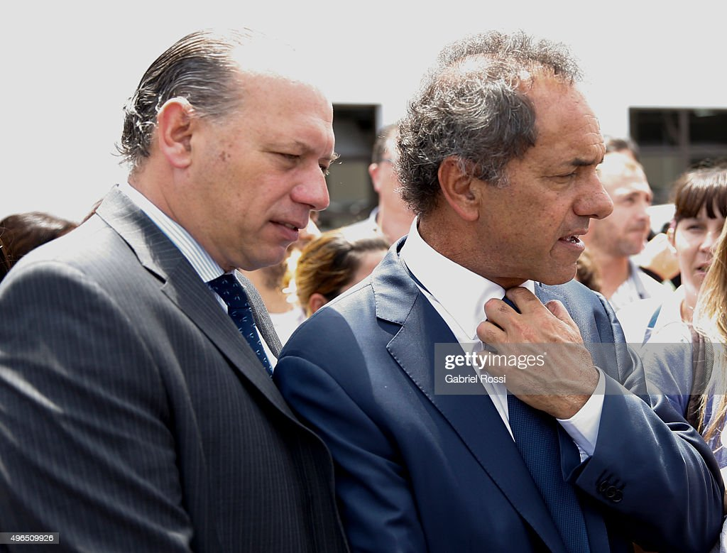 Governor of Buenos Aires and presidential candidate Daniel Scioli and Security Secretary of Argentina Sergio Berni are seen during campaign rally at Federal Police School Juan Angel Pirker on November 10, 2015 in Buenos Aires, Argentina.
