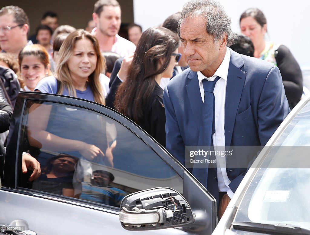 Governor of Buenos Aires and presidential candidate Daniel Scioli gets into the car during campaign rally at Federal Police School Juan Angel Pirker on November 10, 2015 in Buenos Aires, Argentina.