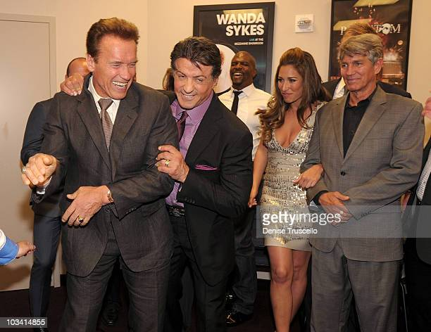 Governor of California Arnold Schwarzeneggar Sylvester Stallone Terry Crews Giselle Itie and Eric Roberts attend the preparty at the special...