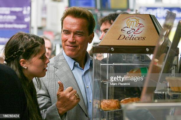 Governor of California Arnold Schwarzenegger is seen at the 'Gare de l'Est' station to test the TGV highspeed train service on June 25 2007 in Paris...