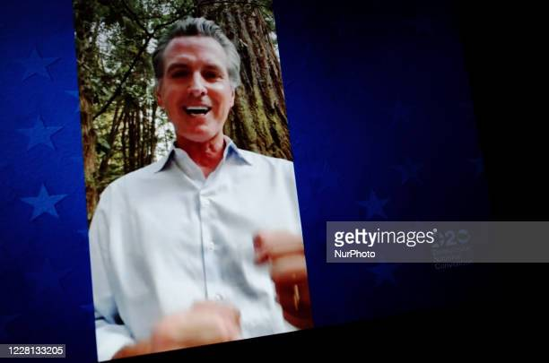 Governor of California Gavin Newsom addresses the virtual 2020 Democratic National Convention, livestreamed online and viewed by laptop from the...