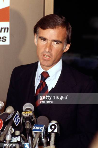 Governor of California Jerry Brown 1975 to 1983 flies to Mexico City on a commercial Jet and holds a press conference on June 5 1979 in Mexico City...