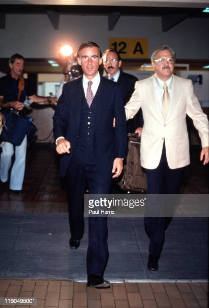 Governor of California Jerry Brown 1975 to 1983 flies to Mexico City on a commercial Jet on June 5 1979 in Mexico City Mexico