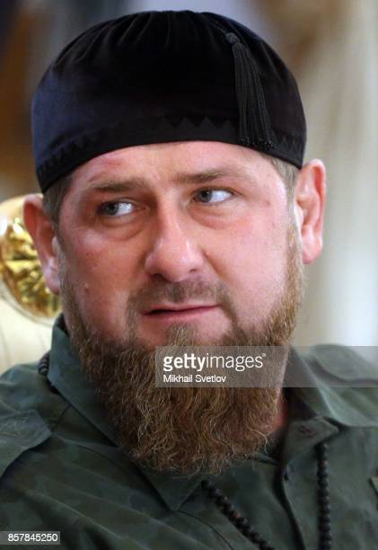 Governor of Chechnya Ramzan Kadyrov attends RussianSaudi talks at the Grand Kremlin Palace on October 5 2017 in Moscow Russia King Salman is on a...