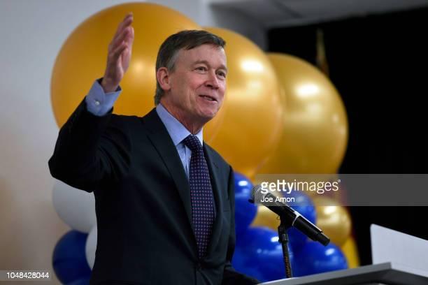 Governor of Colorado John Hickenlooper speaks at the rededication of United Airlines new $40million flight training center in east Denver on October...