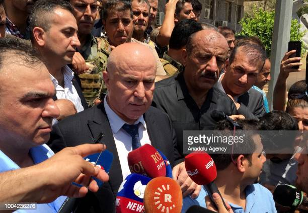 Governor of Erbil Nawzad Hadi speaks to press after security forces killed three attackers following an armed attack on July 23 2018 in Erbil Gunmen...