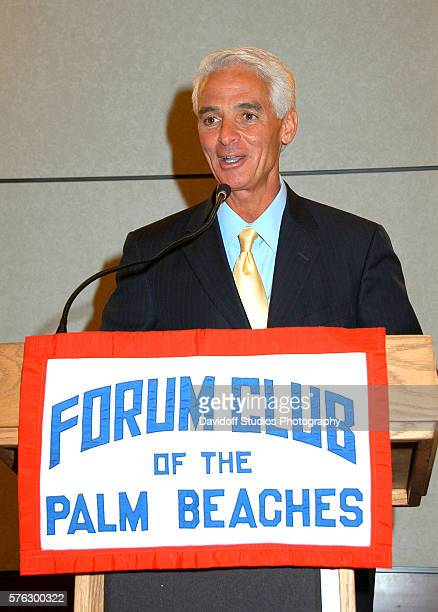 Governor of Florida Charlie Crist speaks from a lecturn at the Forum Club of the Palm Beaches Palm Beach Florida May 21 2007