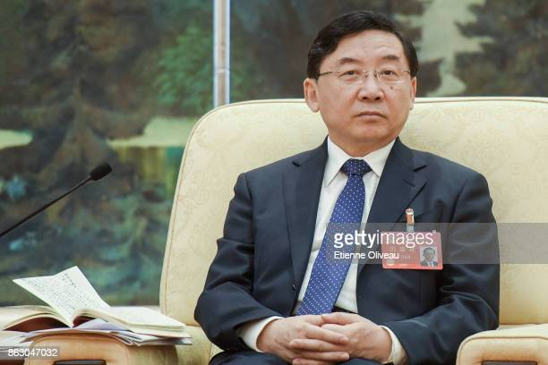 Governor of Fujian Province Yu Weiguo attends a meeting of the 19th Communist Party Congress at the Great Hall of the People on October 19 2017 in...