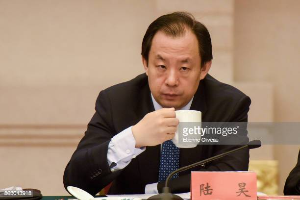 Governor of Heilongjiang Province and deputy secretary of the Heilongjiang CPC Provincial Committee Lu Hao attends a meeting of the 19th Communist...