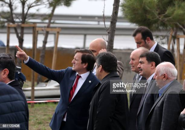Governor of Istanbul Vasip Sahin and Mayor of Istanbul Kadir Topbas inspect the crash site after an helicopter crashes in Istanbul's Buyukcekmece,...