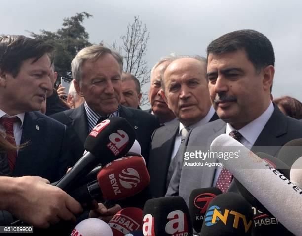 Governor of Istanbul Vasip Sahin speaks to media at the crash scene after an helicopter crashes in Istanbul's Buyukcekmece, Turkey on March 10, 2017.