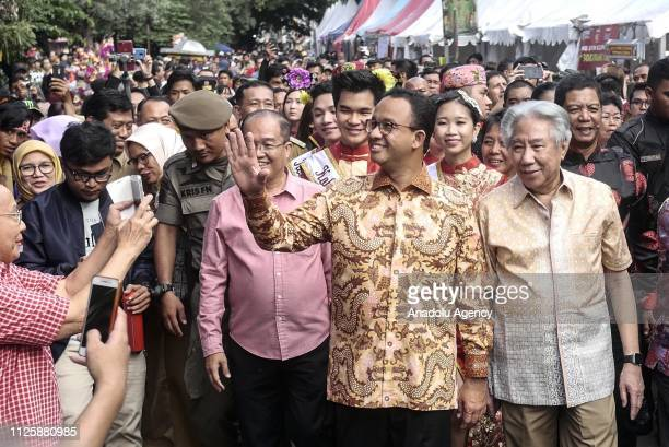 Governor of Jakarta Anies Baswedan visits 'Cap Go Meh' festival that marks the end of the Chinese Lunar New Year celebration in Jakarta Indonesia on...