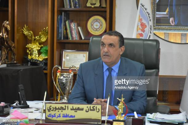 Governor of Kirkuk Rakan Saeed speaks during a press conference after his meeting with Special Representative of the United Nations in Iraq Jan Kubis...