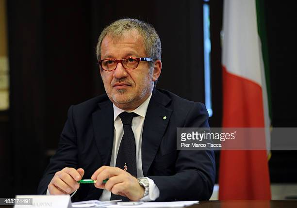 Governor of Lombardy Roberto Maroni attends The 'Mafiafree' Expo 2015 Plan press conference with Italian Minister Angelino Alfano Lombardy's...