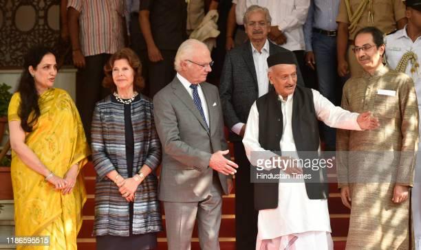Governor of Maharashtra Bhagat Singh Koshyari along with Maharashtra Chief Minister Uddhav Thackeray and wife Rashmi as the Swedish King Carl XVI...