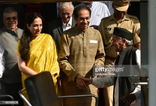 Governor of Maharashtra Bhagat Singh Koshyari along with Maharashtra Chief Minister Uddhav Thackeray and wife Rashmi as the wait to for their car as...