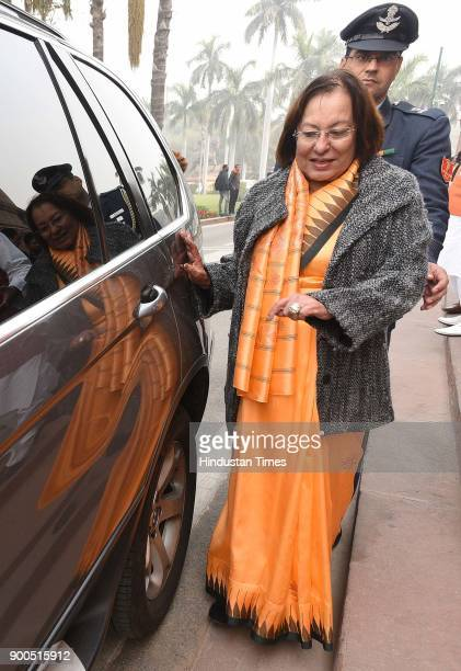 Governor of Manipur and the Chancellor of Jamia Millia Islamia university Najma Haptulla during the Parliament Winter Session on January 2 2018 in...