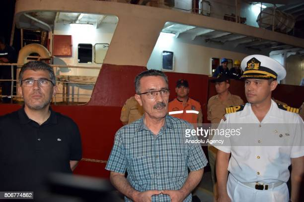 """Governor of Mugla Celalettin Yuksel and South Coast Guard Commander Colonel Oguz Bavbek welcomed the crew of Turkish commercial ship named """"ACT""""..."""