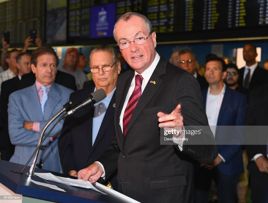 Governor of New Jersey Phil Murphy speaks during the William Hill Sports Book at Monmouth Park as it opens and welcomes public to place first legal sports bets on June 14, 2018 in Oceanport, New Jersey.