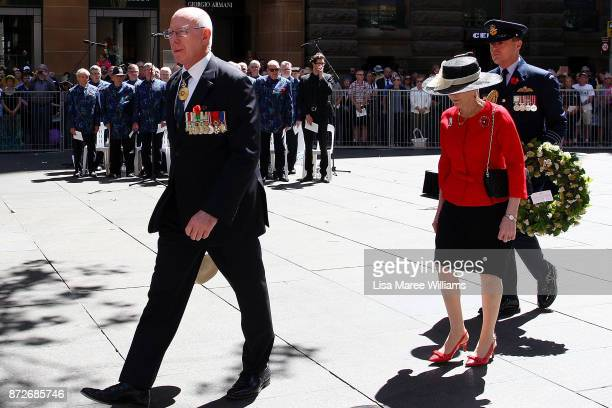 Governor of New South Wales David Hurley arrives at the Remembrance Day Service held at the Cenotaph Martin Place on November 11 2017 in Sydney...